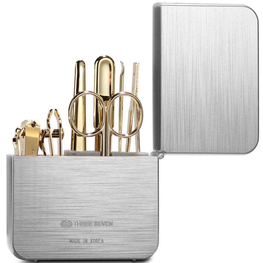 777 Nail Knife Set Nail Scissors Personal Care Repair Set 7pcs Set TS-4112G Silver Box Gold Set (Import)