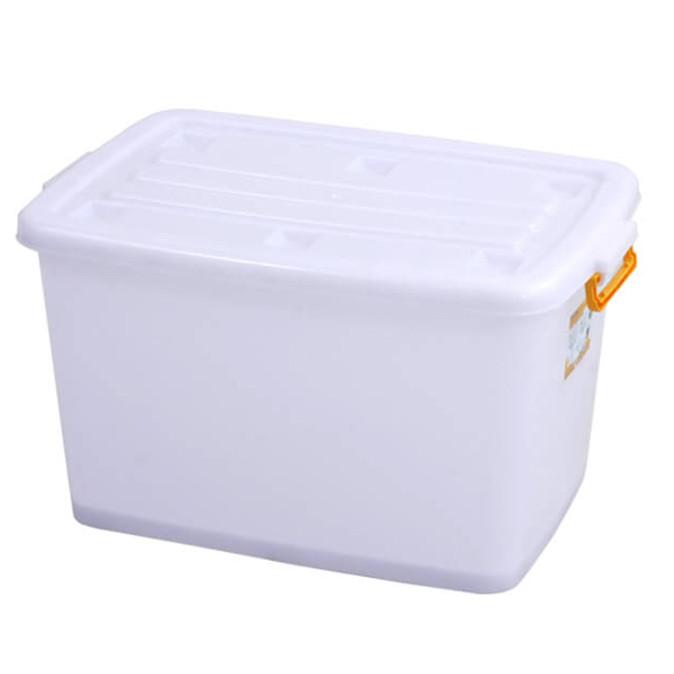 Thùng nhựa vuông đa năng 140L có bánh xe (quai màu ngẫu nhiên)