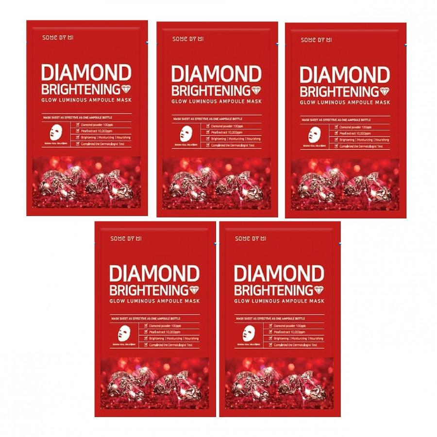 Bộ 5 Mặt Nạ Giấy Some By Mi Glow Luminous Ampoule Diamond Brightening Mask x5