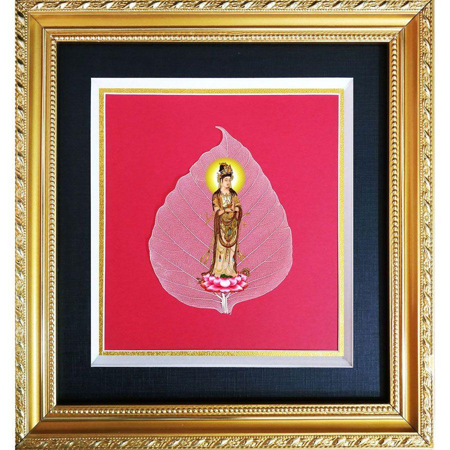 Tranh Hình Phật Quan Âm Trên Lá Bồ Đề HPB-2454-1