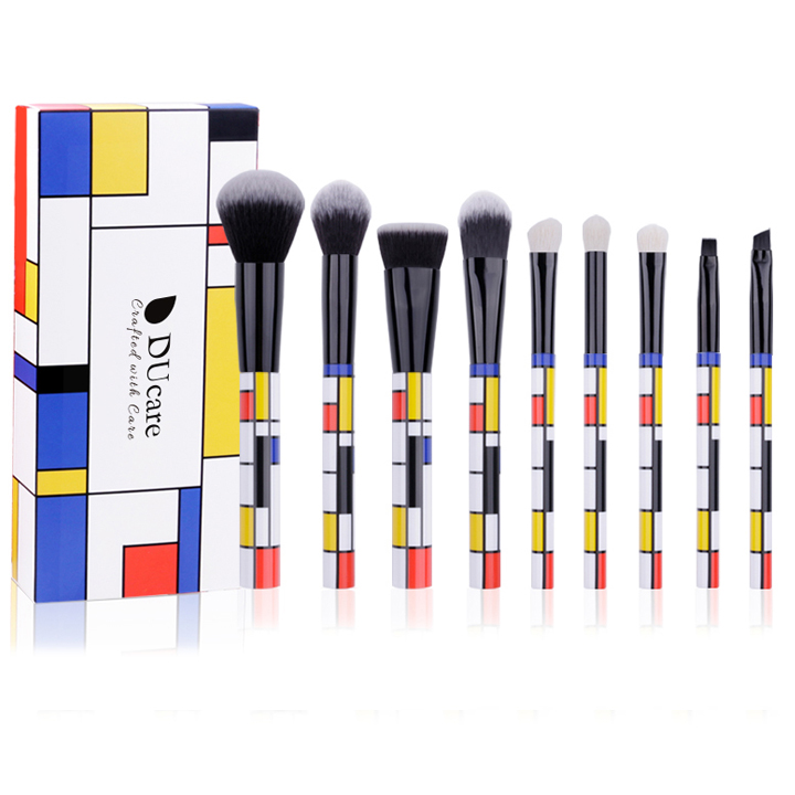 Bộ cọ trang điểm 9 cây Ducare 9 PCS Makeup Brushes Set Red Blue Yellow