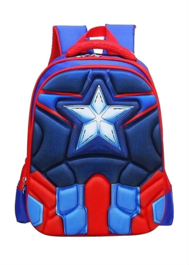 Balo Đi Học Cho Bé Trai Captain America - Xanh (38 x 28 cm)