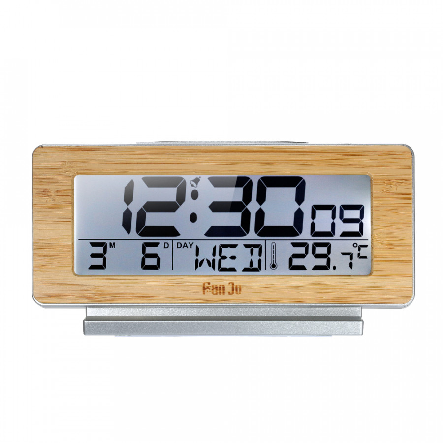 FanJu Battery Operated Bamboo Digital LCD Alarm Clock Indoor Thermometer Hygrometer Clock with Backlight Snooze Function