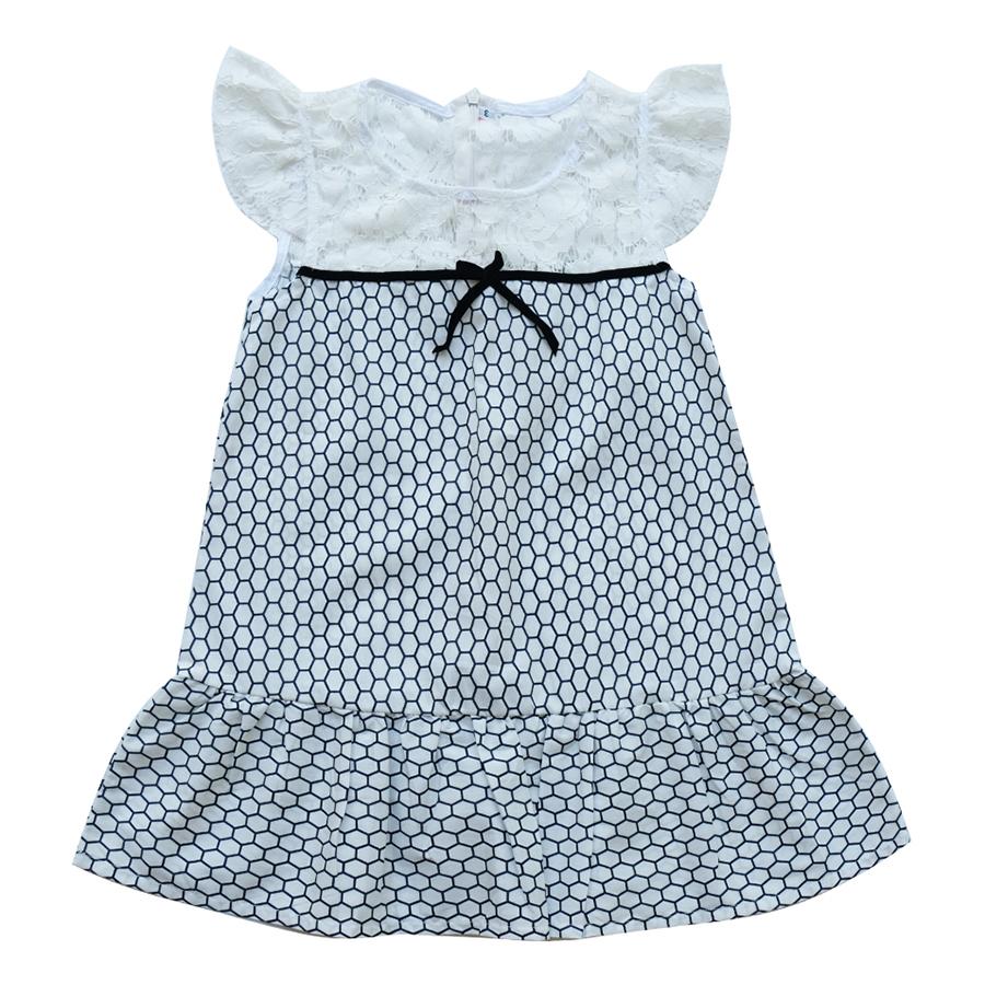 Đầm Bé Gái CucKeo Kids Ô Lục Giác Tím Đô Ren T101858 - Trắng