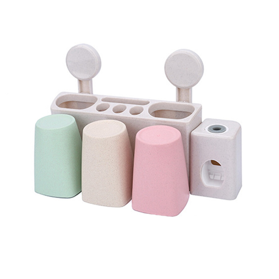 Benjani Wheat Straw Washing Series Three-door House Wall-mounted toothbrush holder Rinse cup Set Automatic squeeze toothpaste cup sucker brush...