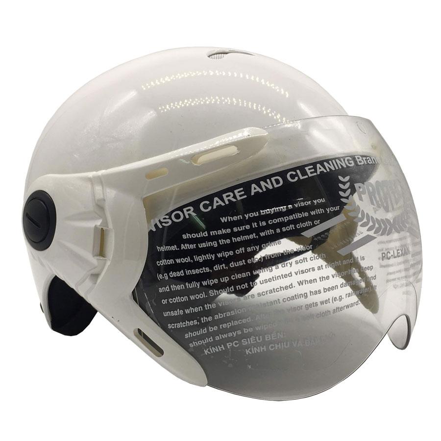 Mũ Bảo Hiểm Trẻ Em 1/2 Đầu Có Kính Protec Kitty KMWK - Trắng