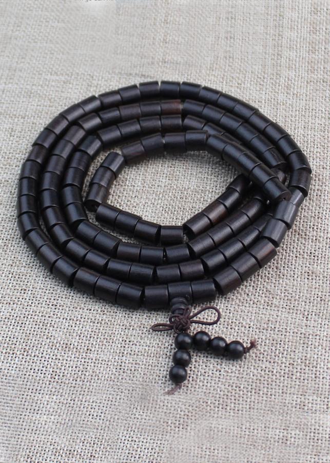 Vòng tay nam nữ 108 hạt hình trụ gỗ mun 6 ly phong cách phật giáo VG04.108