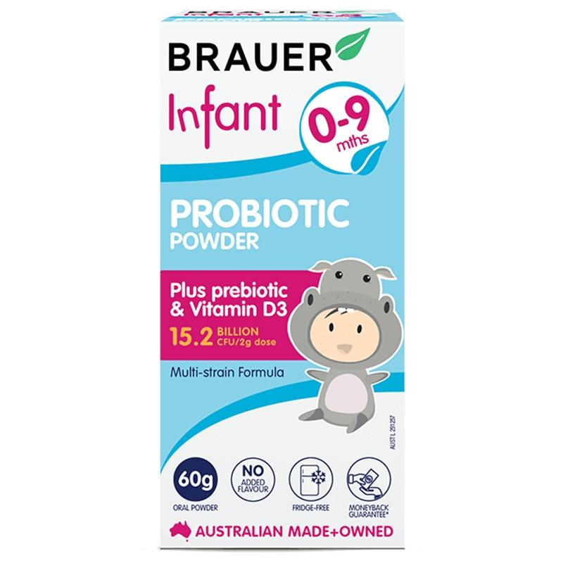 Men vi sinh Brauer Úc cho trẻ 0-9 tháng tuổi 60g– Brauer Natural Medicine Infant Probiotic Power 60g