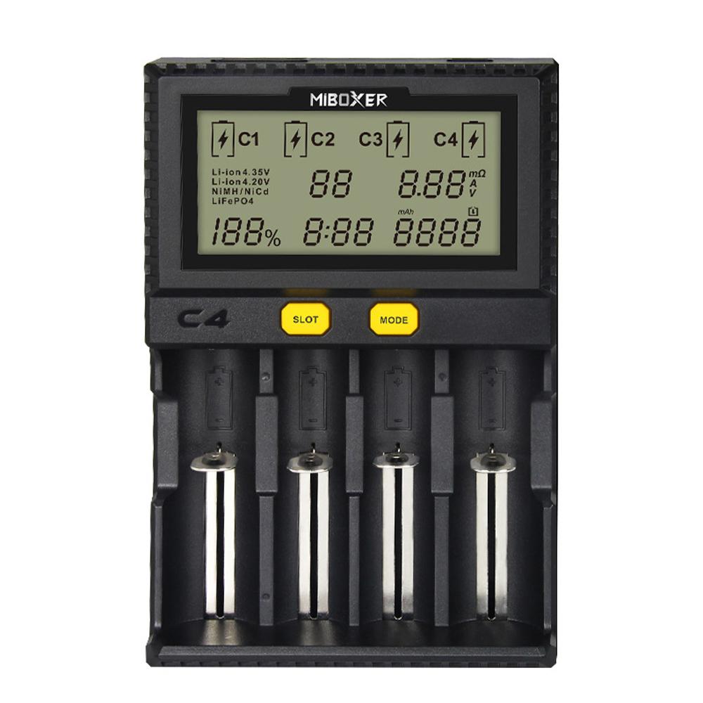 Bộ Sạc Pin MiBOXER Hiển Thị LCD Cho 18650 Li-ion LiFePO4 Ni-MH Ni-Cd AA 21700 18490 (1.5A)