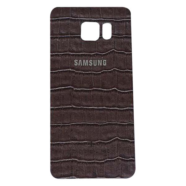 Miếng Dán Da Bò Vân Cá Sấu Dành Cho Samsung Galaxy S6 Edge Plus Goldblack - Tặng Kèm Logo Và Móc Khóa