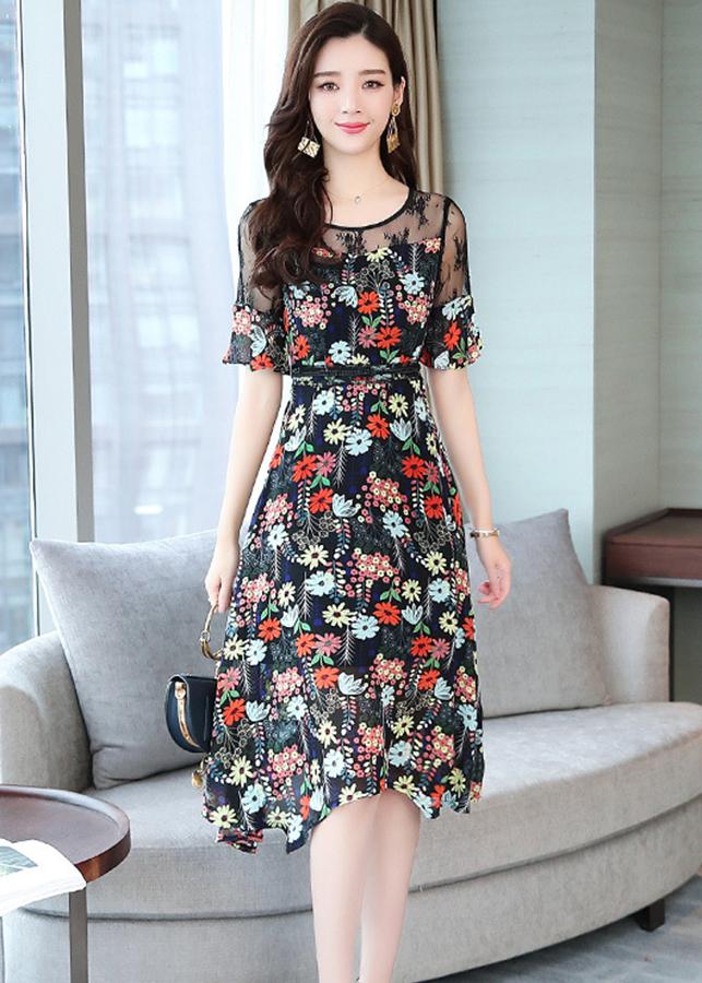 Đầm xòe dạo phố kiểu đầm xòe phối ren in hoa ngũ sắc ROMI1637