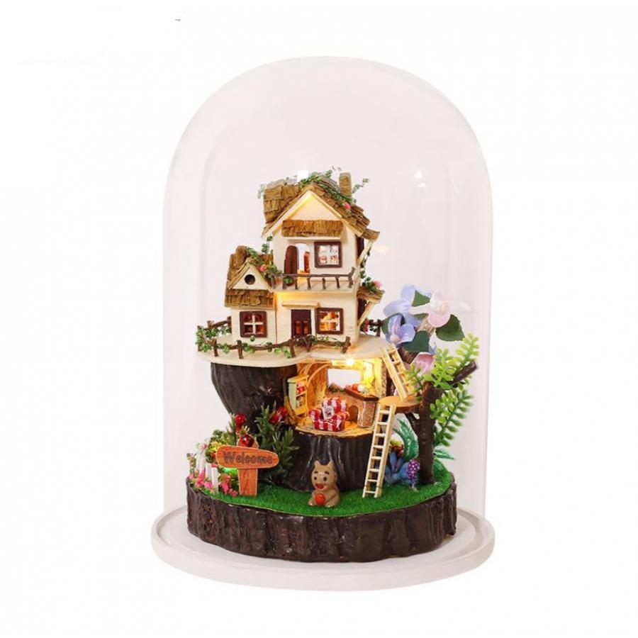 Hộp nhạc nhà búp bê Cute Room xoay trong lồng chụp mica - Song Of the Forest