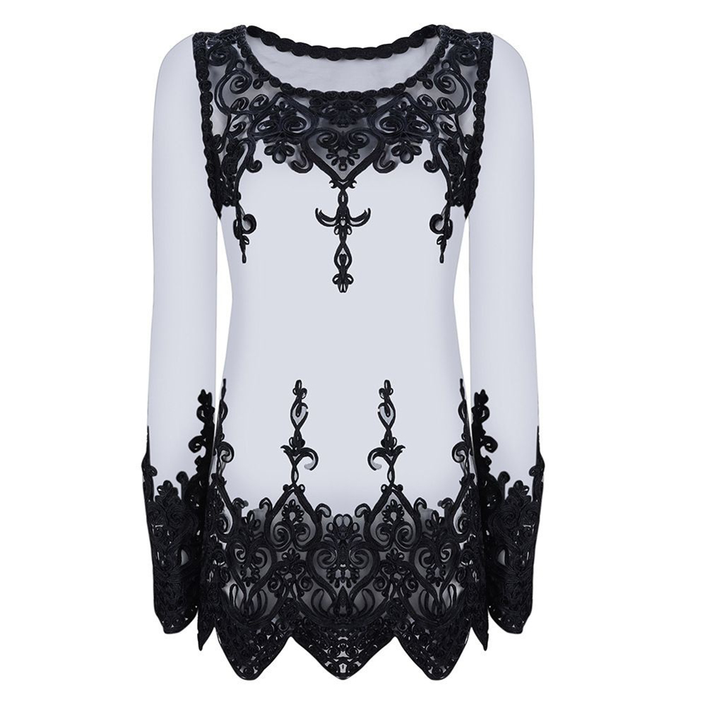 See-through Gauze Long Sleeve Lace Sexy Lacework Woman Loose Blouse Summer Top