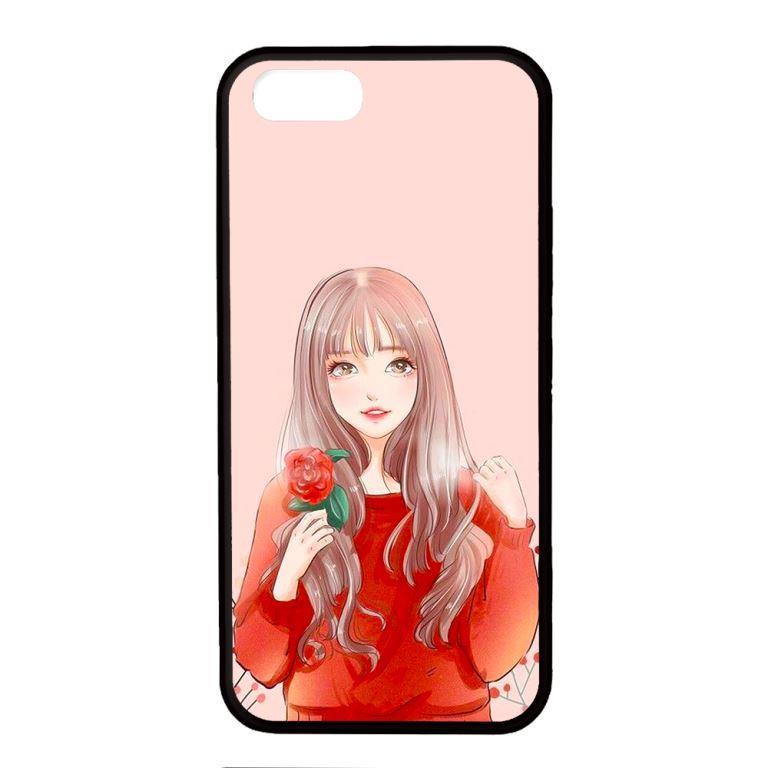 Ốp lưng dành cho điện thoại Iphone 5 Cô Gái Cầm Hoa