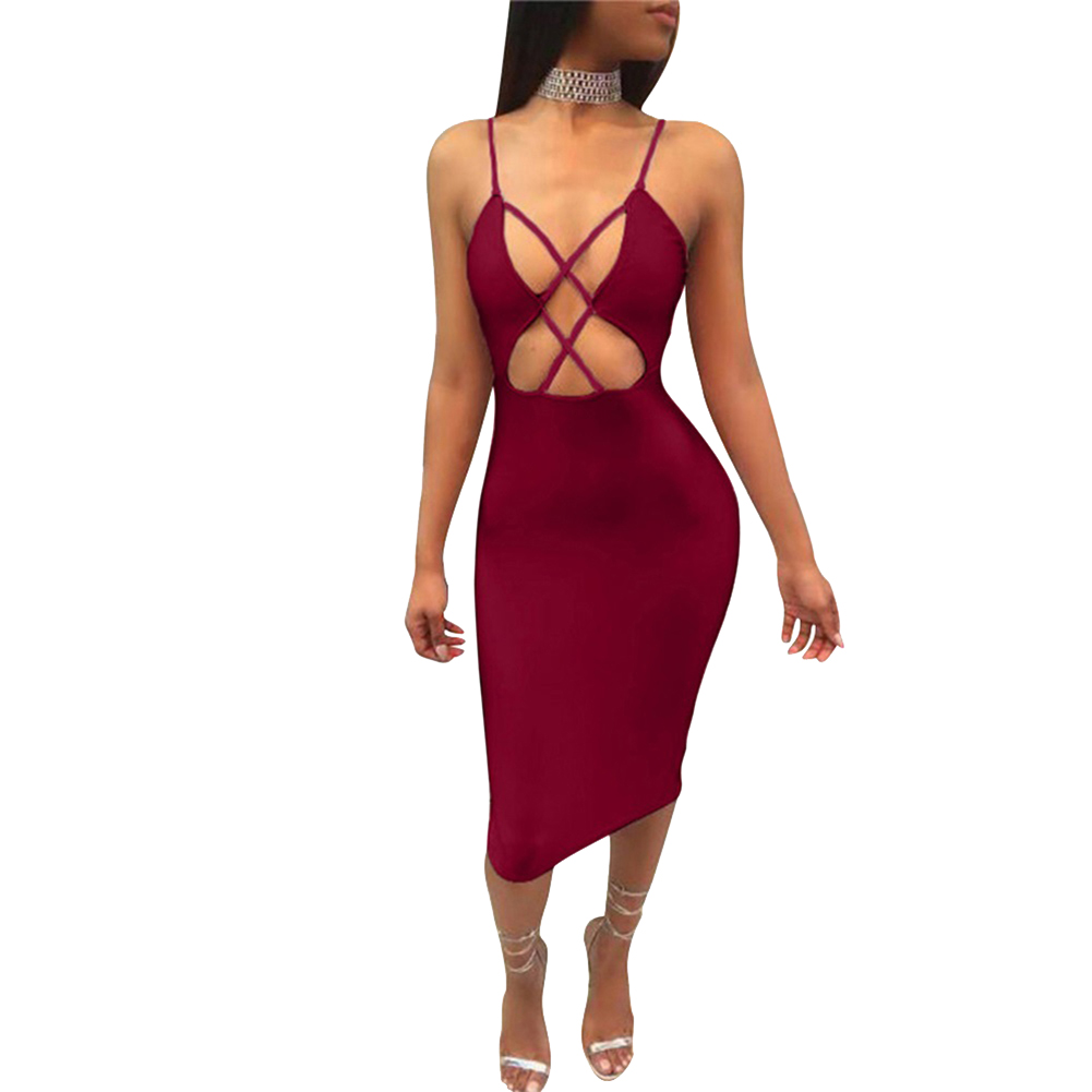 Summer Party Solid Color Cross Hollow Out Bodycon Women Spaghetti Strap Dress - 16644398 , 1700187543305 , 62_27387839 , 202000 , Summer-Party-Solid-Color-Cross-Hollow-Out-Bodycon-Women-Spaghetti-Strap-Dress-62_27387839 , tiki.vn , Summer Party Solid Color Cross Hollow Out Bodycon Women Spaghetti Strap Dress
