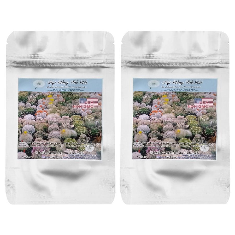 Bộ 2 Túi Hạt Giống Xương Rồng Mix (Cactaceae) (5Hạt x 2)
