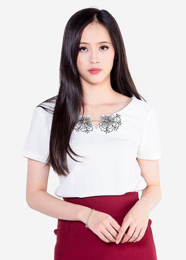 Áo Sơ Mi Nữ Crop-Top Ngắn Tay Bo Gấu ADD1403TR - Trắng