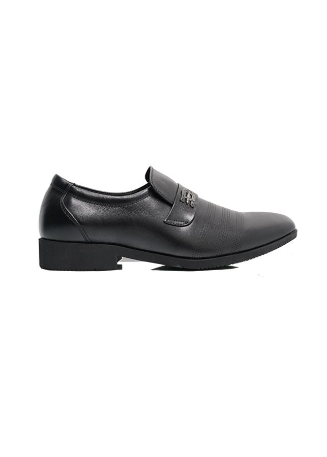 Giày lười nam màu đen khuy kiếm bọc