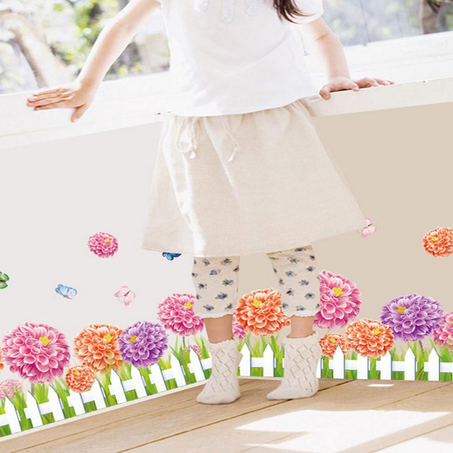 decal dán tường chân rào hoa cẩm chướng bông to xl7145