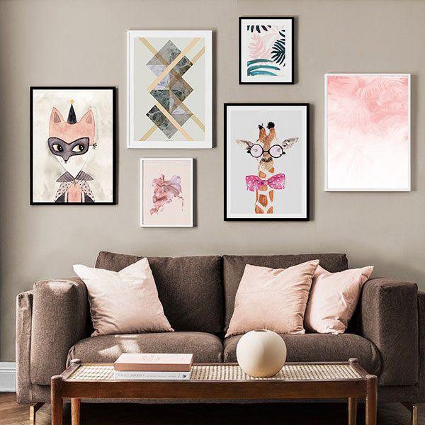 Bộ 6 tranh màu sắc hiện đại phòng khách MS0612