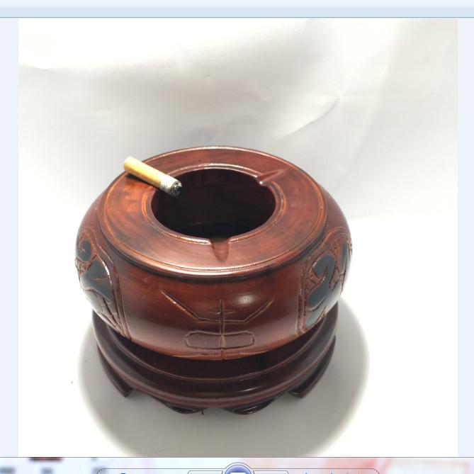 Gạt tàn xì gà - gạt tàn thuốc lá bằng gỗ hương nguyên khối tiện tròn phong thủy - ảnh thật