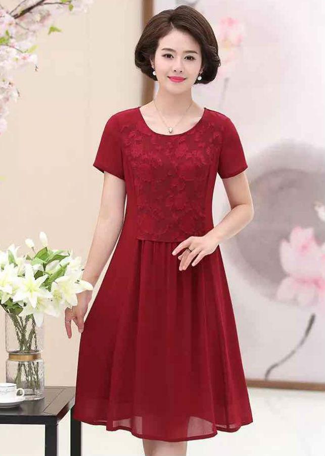 Đầm Nữ Ren Trung Niên Phối Voan DRESS393