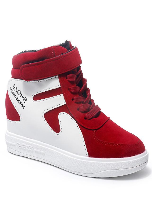 Giày thể thao nữ cổ cao độn đế màu đỏ GTT2402