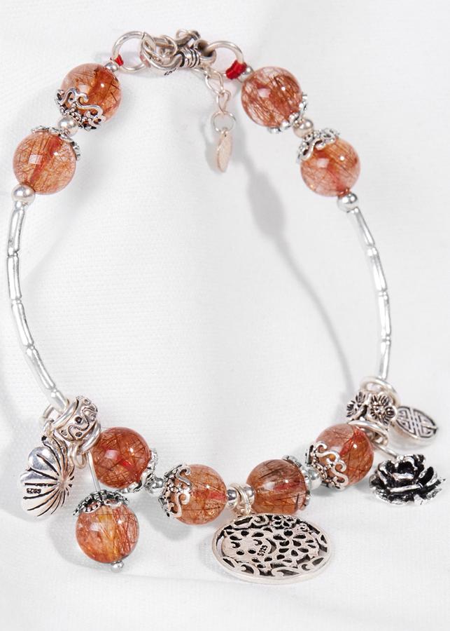 Vòng Tay Thạch Anh Tóc Đỏ Phối Hoa Mẫu Đơn Ngọc Quý Gemstones