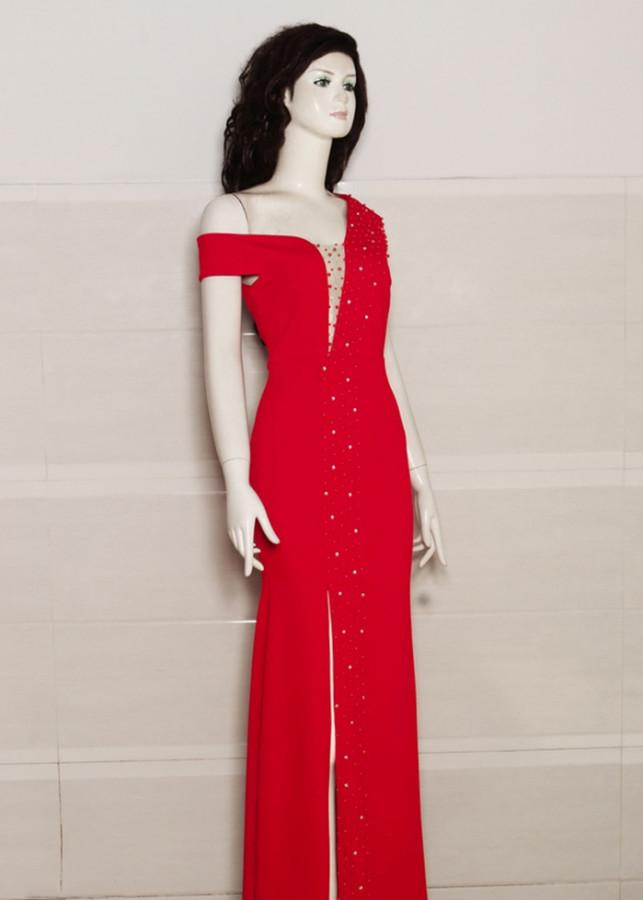Đầm Dạ Hội Thiết Kế Lệch Vai Màu Đỏ - SVTC2928