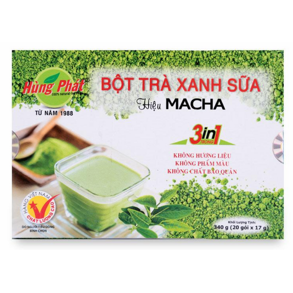 Bột Trà Xanh Sữa Macha 3 In 1 Hùng Phát (17g / Gói)