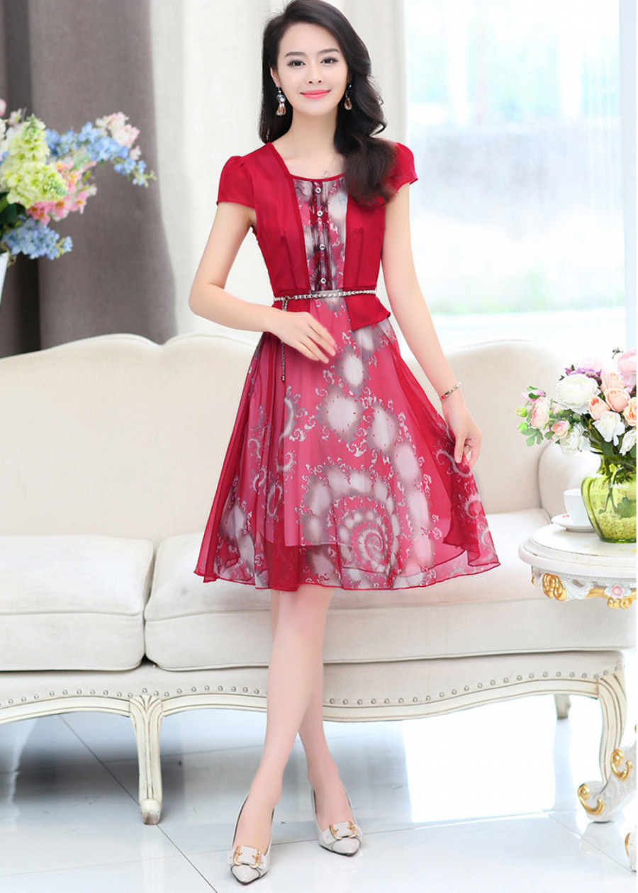 Đầm trung niên dáng xòe Peplum dự tiệc đẹp sang trọng Quảng châu D332
