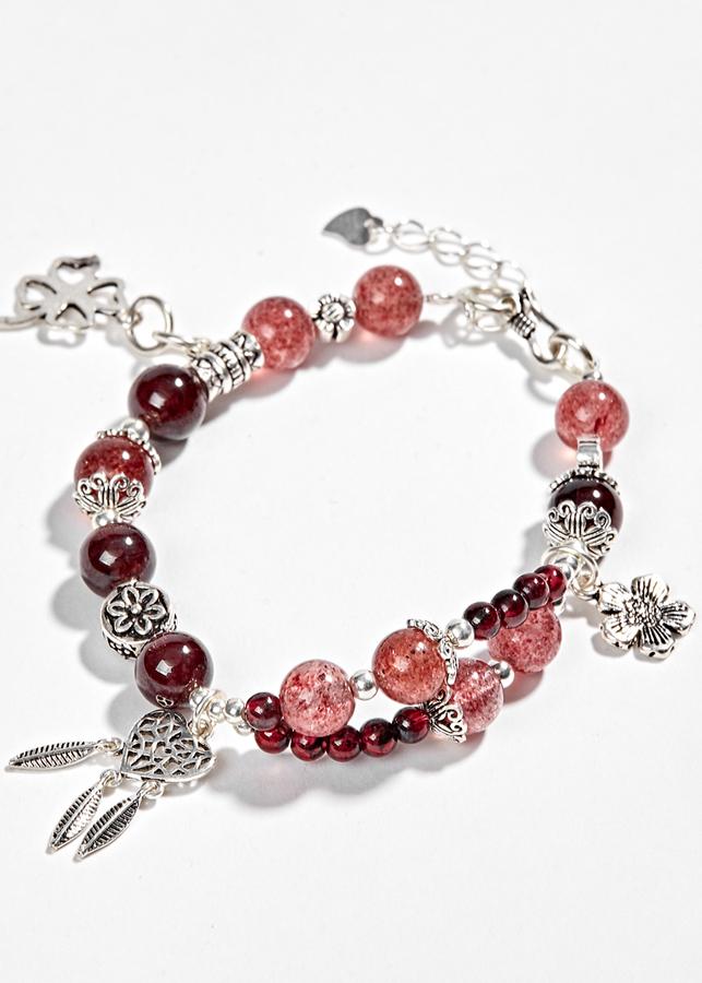 Vòng Đá Garnet Phối ngọc hồng lưu Và Charm Nốt Nhạc Bạc 8mm Ngọc Quý Gemstones