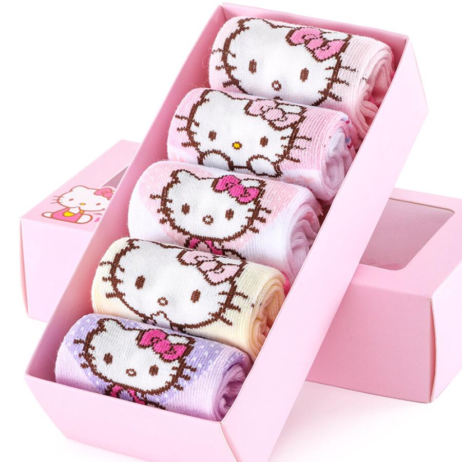 Vớ Cotton Cổ Cao Họa Tiết Hello Kitty W3030 Cho Bé Gái (5 Đôi)