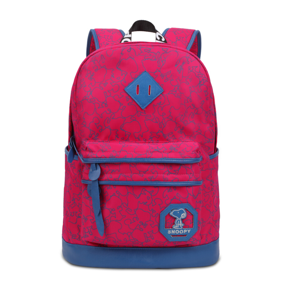 Snoopy (SNOOPY) student bag middle school student backpack casual shoulder bag layered large capacity bag SN9050 rose red