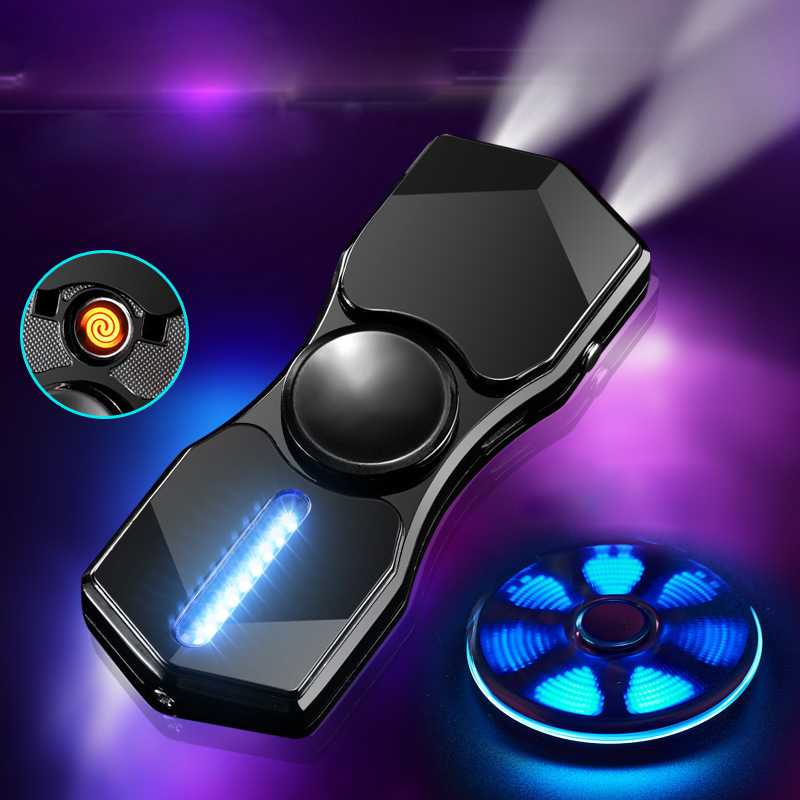 Hột Quẹt Bật Lửa Hồng Ngoại Kiêm Đèn Pin Sạc Điện USB Kiểu Dáng Spinner Tạo 12 Hiệu Ứng Đèn Led(màu ngẫu...