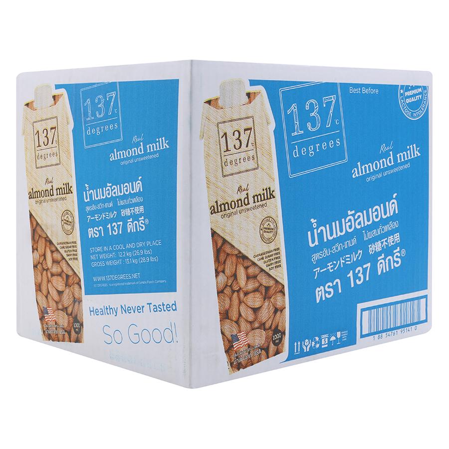 Thùng Sữa Hạnh Nhân Nguyên Chất Không Đường 137 Degrees (1L)