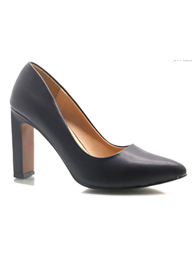 Giày Cao Gót Nữ 7cm Trơn - Đen