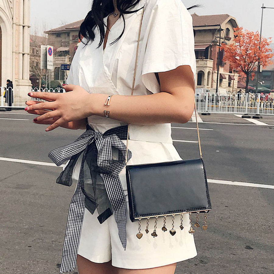 New Vintage Women Crossbody Bag Flap Over Chain Messenger Shoulder Bag PU Leather Small Bag