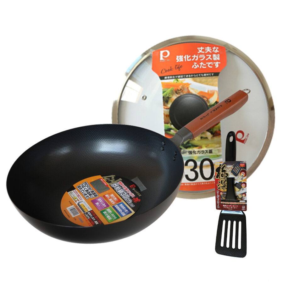 Pearl life bump physical anti-stick flat iron 30cm uncoated healthy wok self-made pot set