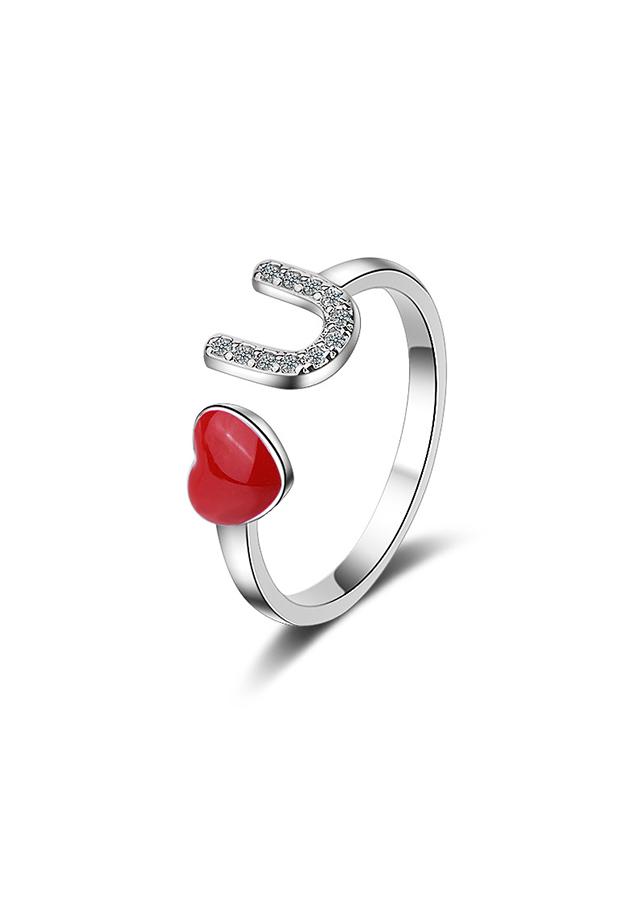 Nhẫn bạc nữ Tình yêu đỏ