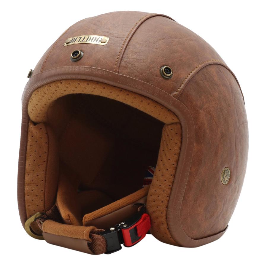 Mũ Bảo Hiểm 3/4 Bulldog Leather 2017 - Cà Phê Sữa