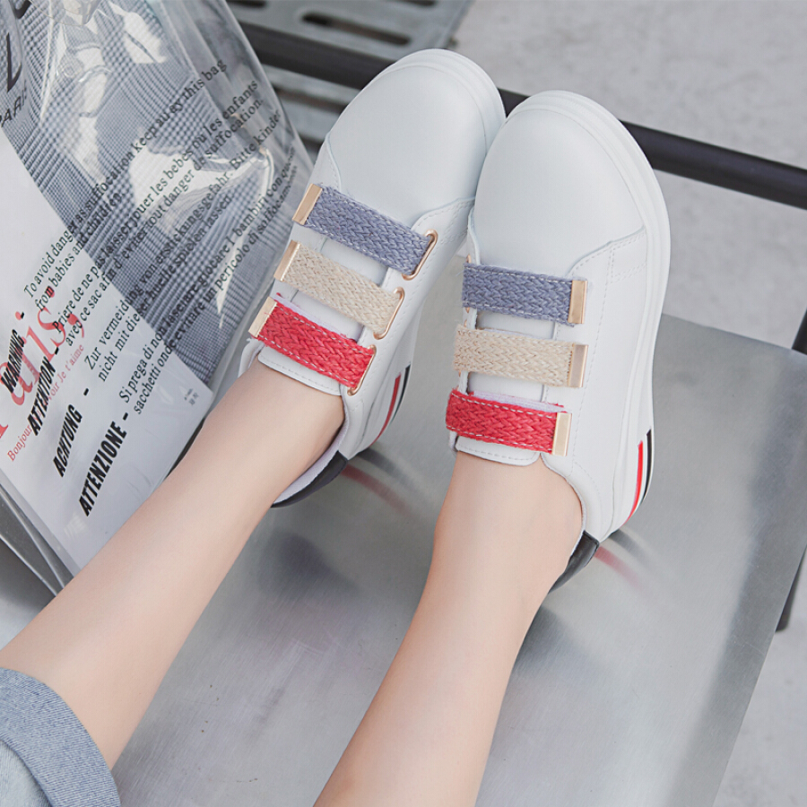 Cartier crocodile CARTELO casual white shoes ladies sports magic stickers muffin thickening increased Korean version of the wild deep mouth...