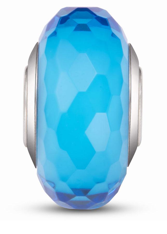 Hạt charm DIY PNJSilver hình dẹt tròn màu xanh 0000K060145-BO