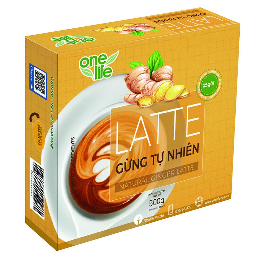 Trái Cây Sạch - Latte Gừng Tự Nhiên OneLife - Sinh Tố Gừng (Hộp 25 gói)