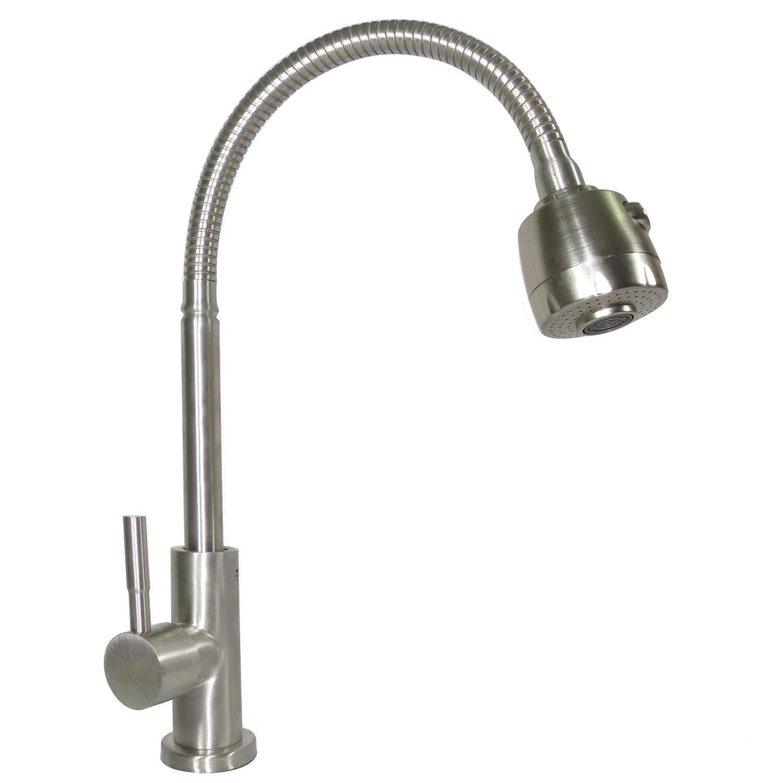 Vòi rửa chén lạnh Inox SUS 304, cần lò xo Eurolife EL-T025 (Trắng vàng)