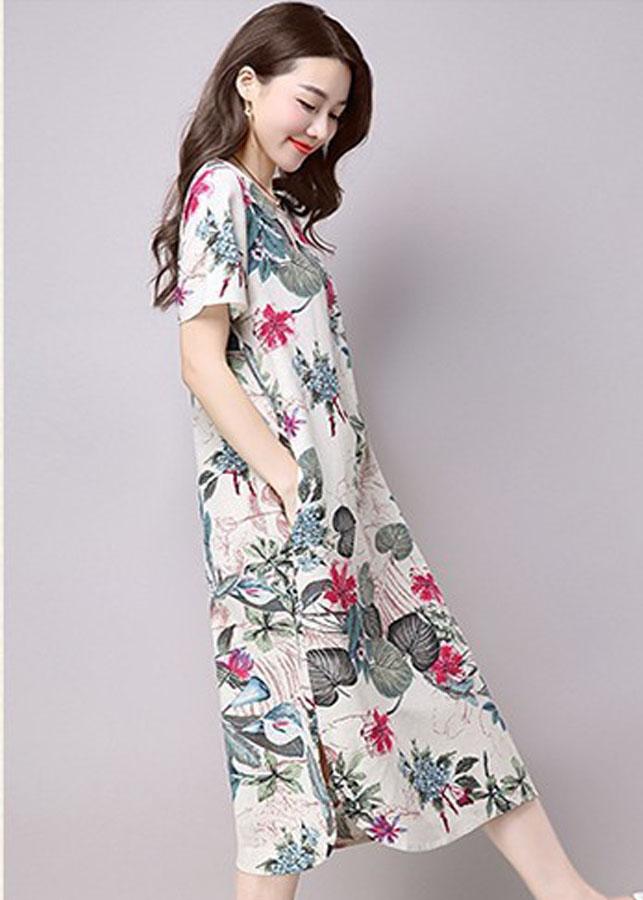 Đầm suông xẻ tà họa tiết hoa lá 1D0411