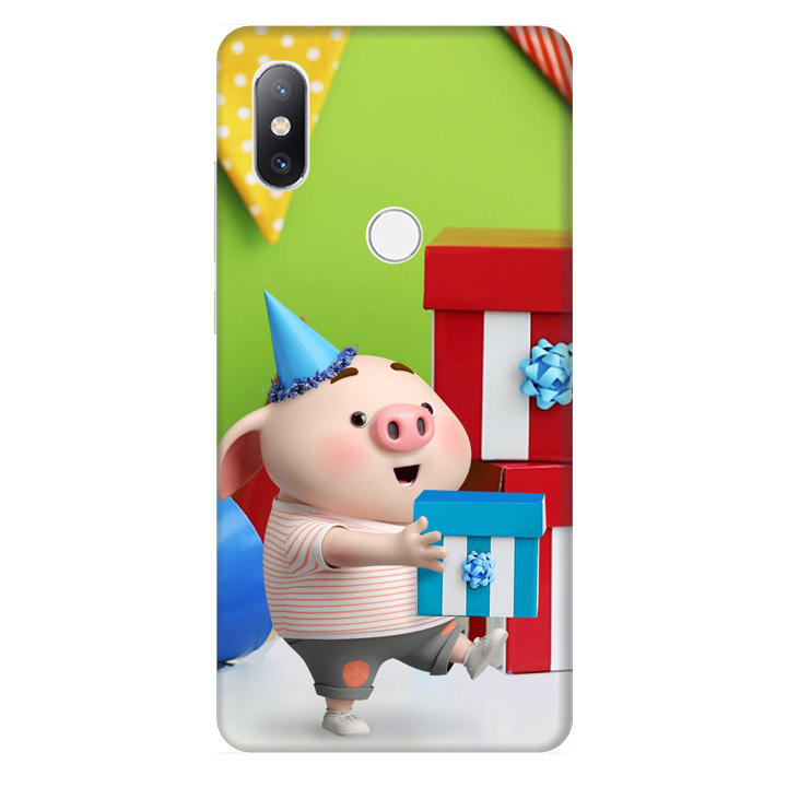 Ốp lưng nhựa cứng nhám dành cho Xiaomi Mimix 2S in hình Heo Con Mừng Sinh Nhật