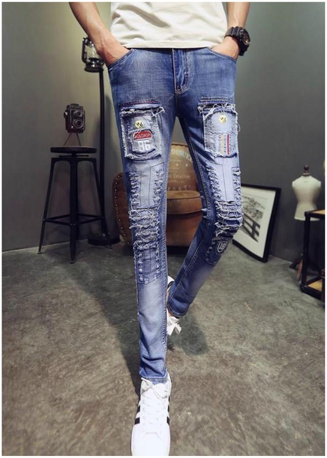 Quần jeans rách chắp vá 96 Mã: ND0941 - XANH NHẠT