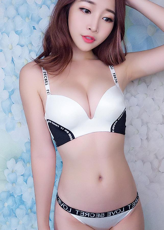 Áo su nâng ngực kiểu thể thao dây viền chữ