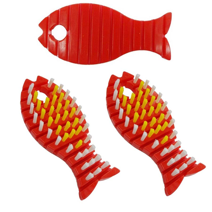 Bộ 3 bàn chải cọ uốn cong hình con cá ( màu đỏ ) - Hàng Nội Địa Nhật